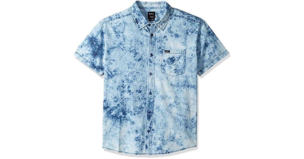 96b64098892 Lyst - RVCA Acid Rain Short Sleeve Button-down Shirt in Blue for Men