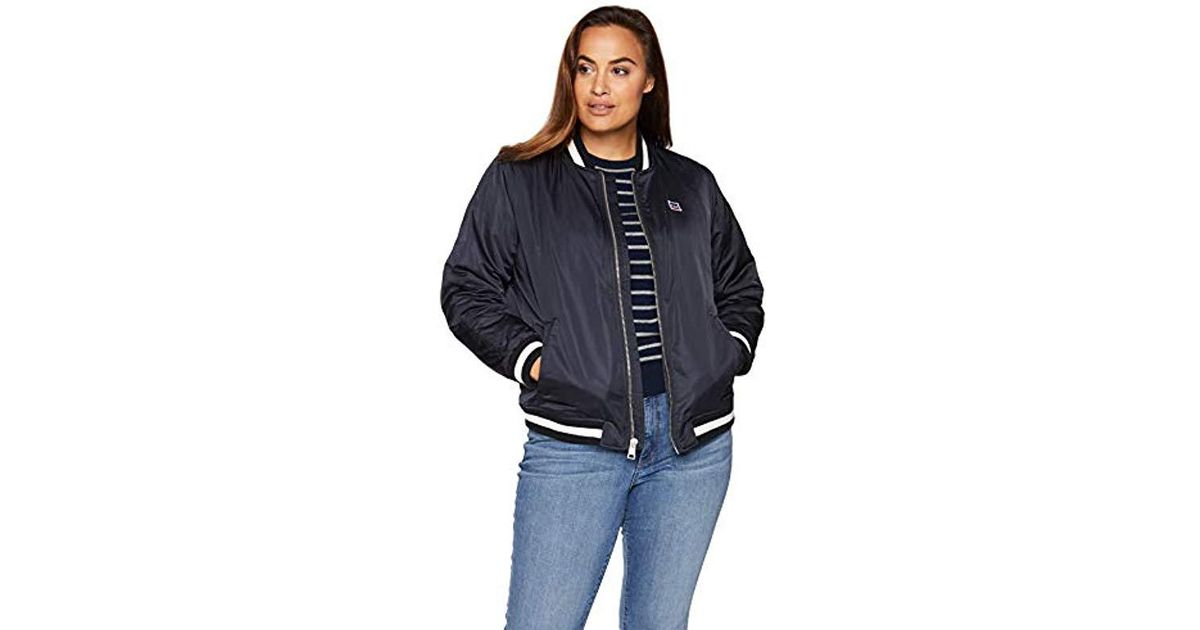6ab66965ff9 Lyst - Levi s Plus Size Retro Varsity Performance Bomber Jacket in Blue
