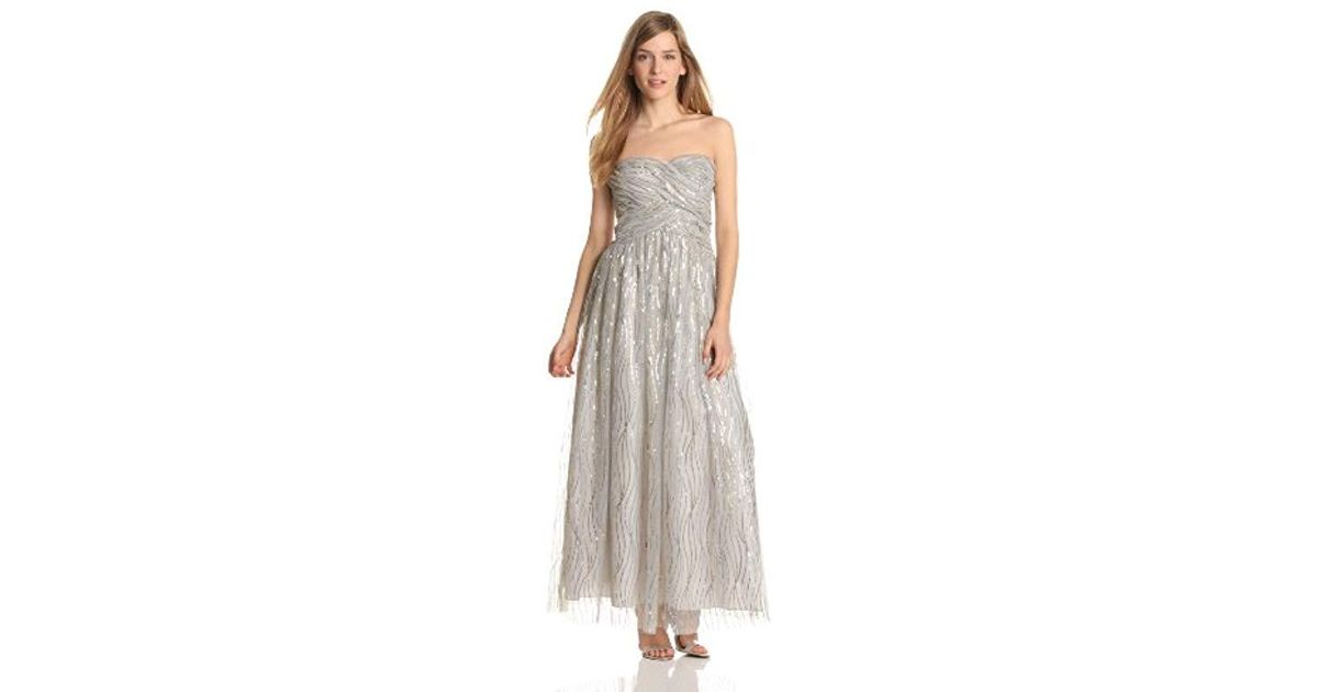 cda74710c3a Adrianna Papell Hailey Dresses Sequin Mesh Ballgown in Metallic - Lyst