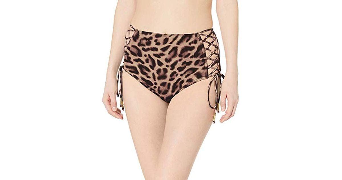 960e7a4b91958 Lyst - Carmen Marc Valvo High Waist Bikini Bottom Swimsuit With Side Tie  Detail in Black
