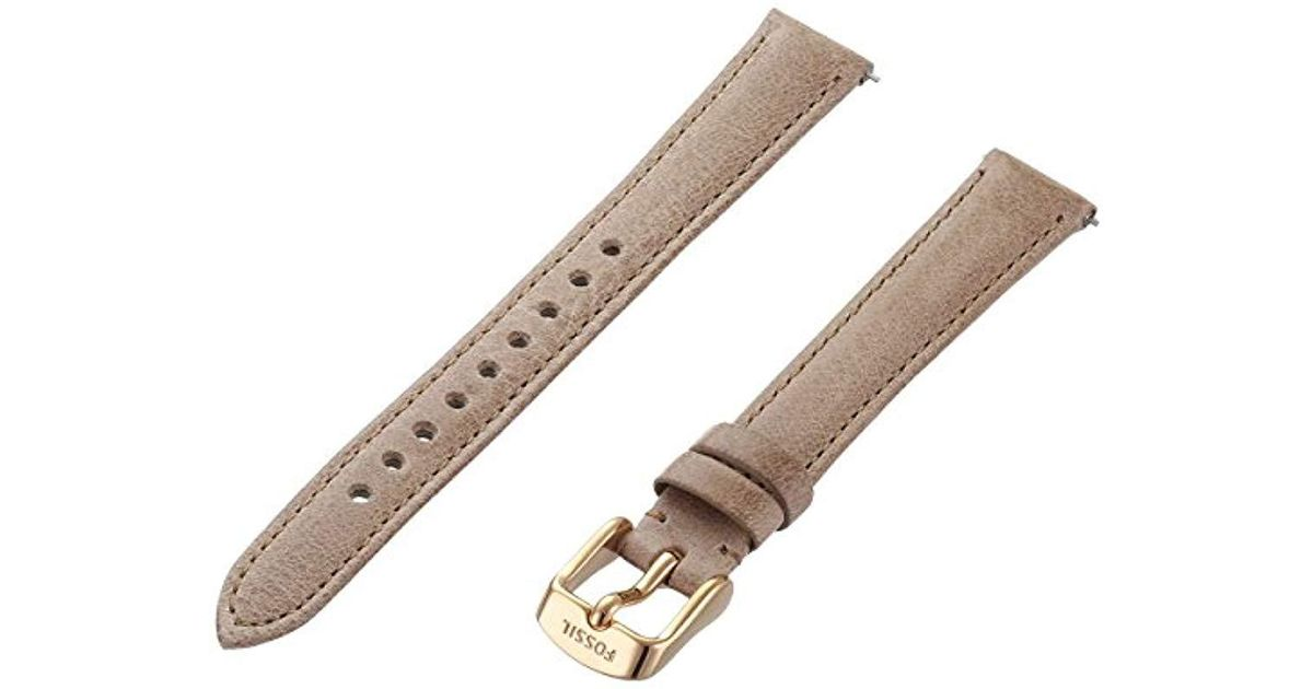 29eb8a7cd Lyst - Fossil S141075 14mm Leather Calfskin Beige Watch Strap in Natural