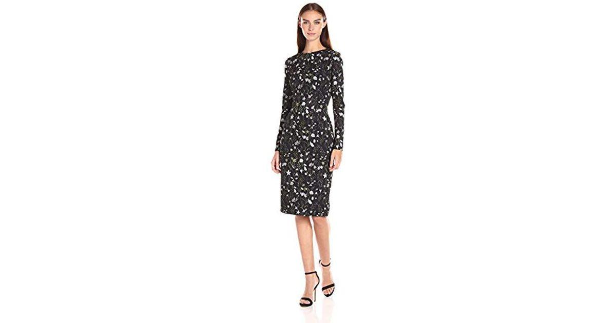 9051303a78ed Lyst - Cynthia Rowley Sleeve Midi Printed Dress in Black