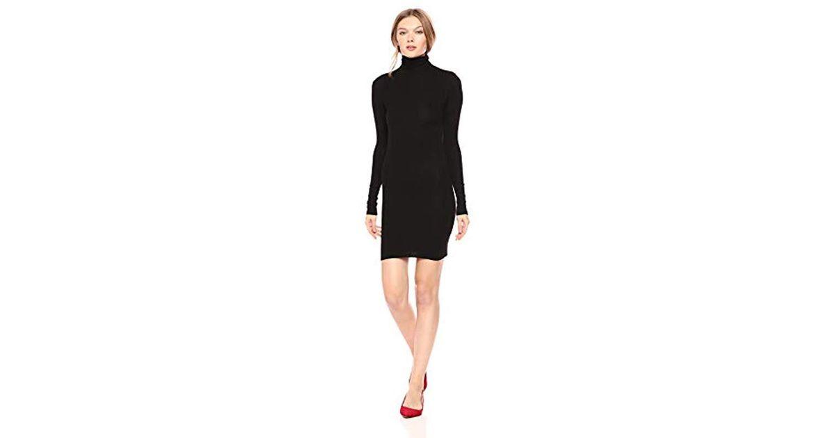 890c4440ed27 Enza Costa Stretch Silk Rib Long Sleeve Turtleneck Mini Dress in Black -  Lyst
