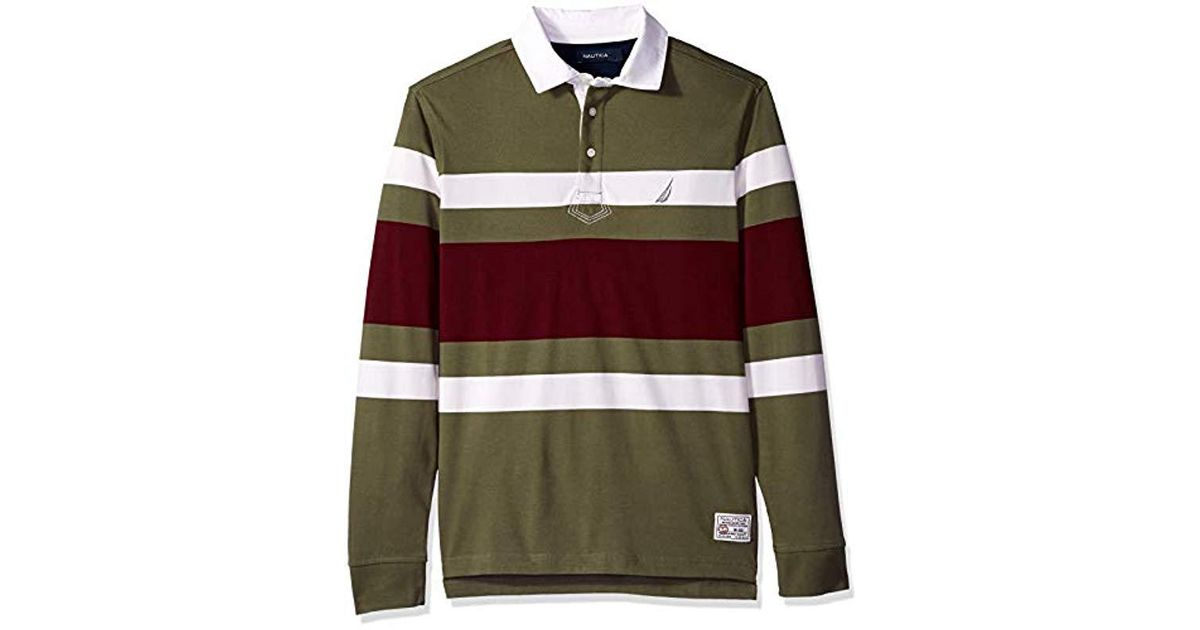 27469ba4 Lyst - Nautica Striped Heavy Weight Jersey Long Sleeve Polo Shirt in Green for  Men