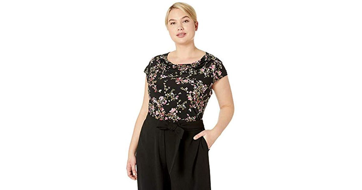 a3bc3bd23ccd8 Lyst - Nine West Plus Size Short Sleeve Jewel Neck Printed Ity in Black