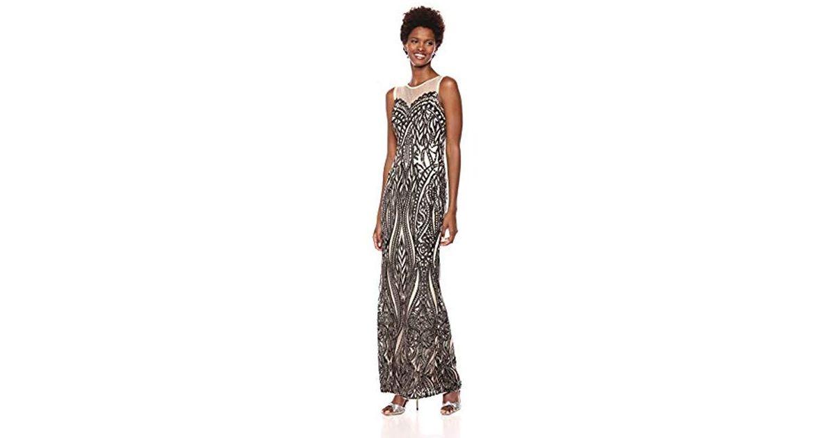 92f57ec886a27 Lyst - Adrianna Papell Sleeveless Sequin Halter Sheath Long Dress in Black