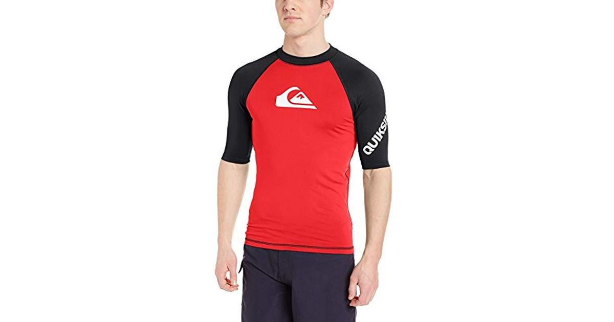 b5005c61c7495 Lyst - Quiksilver All Time Short Sleeve Rashguard Swim Shirt Upf 50+ in Red  for Men