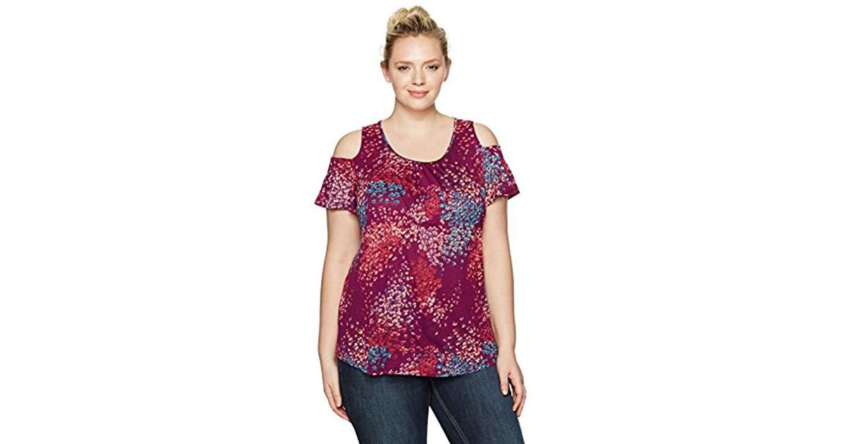 c06fe65ddde4c6 Lyst - Lucky Brand Plus Size Floral Cold Shoulder Top in Purple