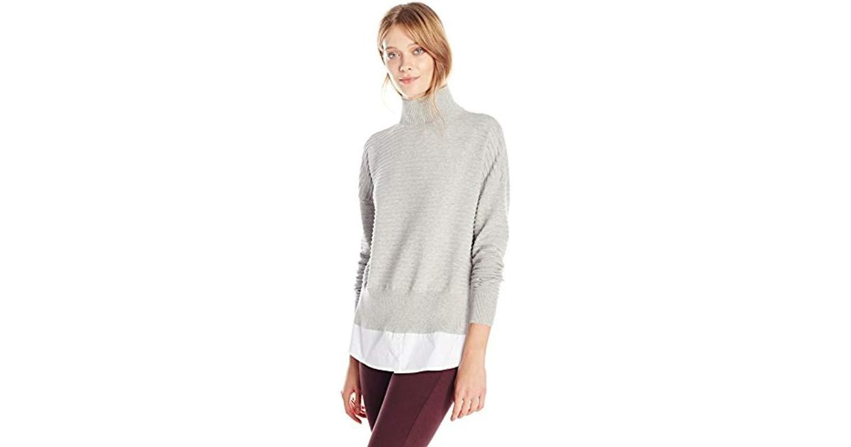 1e63fb287c1 Lyst - French Connection Millie Mozart Solid Knits Cotton Sweaters in Gray