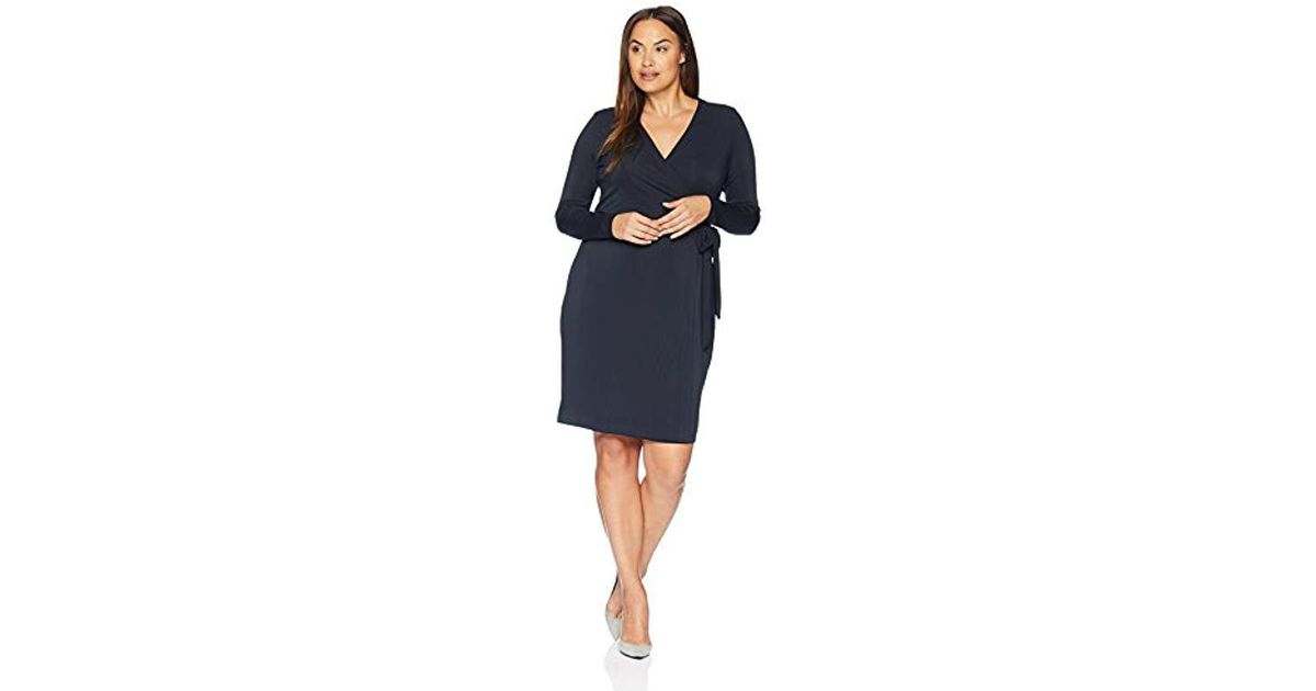 Lyst Lark Ro Plus Size Signature Long Sleeve Wrap Dress In Blue