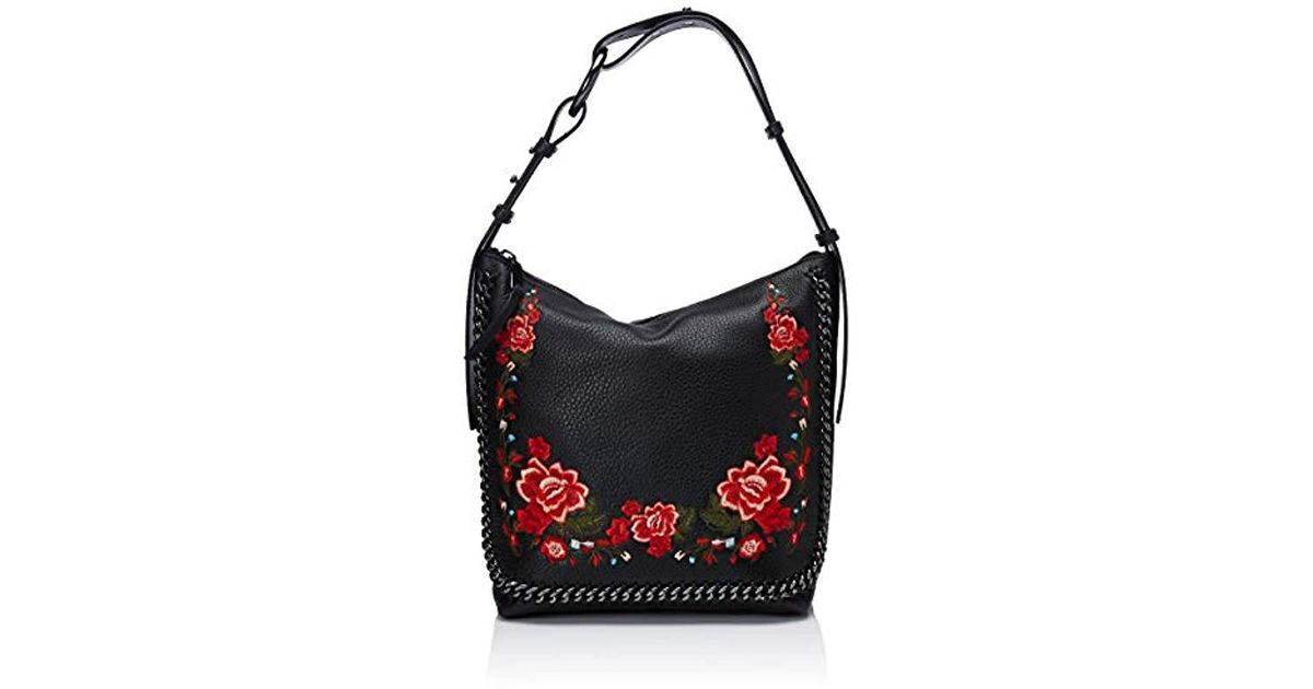 9450323dc9cc Lyst - Calvin Klein Liana Pebble Leather Floral Embroidery Belted Top Zip  Slouchy Hobo in Black - Save 6%