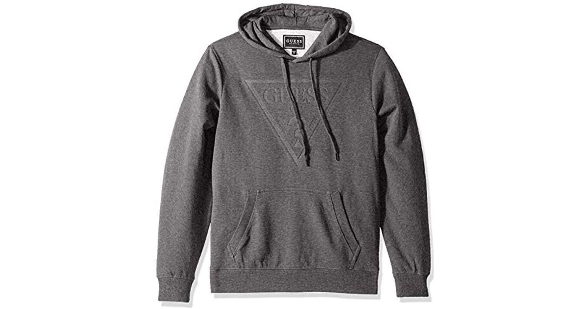 41bf08c1b47 Lyst - Guess Long Sleeve Roy Pop Over Logo Hoodie in Gray for Men
