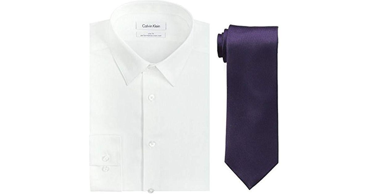 138e2eb2df9b Lyst - Calvin Klein Dress Shirt Slim Fit Non Iron Herringbone in White for  Men - Save 23%