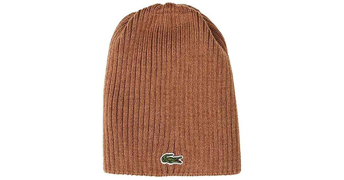 eed5fd65 Lyst - Lacoste Classic Wool Ribbed Knit Beanie in Brown for Men