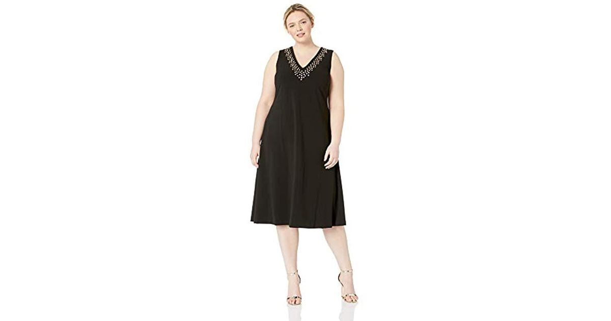 dcaf855b5c7 Lyst - Calvin Klein Plus Size Sleeveless Midi With Embellished Neck Dress  in Black