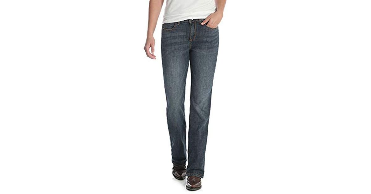 92b45e5a8a Lyst - Wrangler Aura Instantly Slimming Mid Rise Boot Cut Jean in Blue