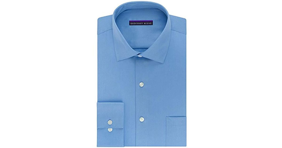 18df4f9553 Lyst - Geoffrey Beene Sateen Fitted Solid Spread Collar Dress Shirt in Blue  for Men