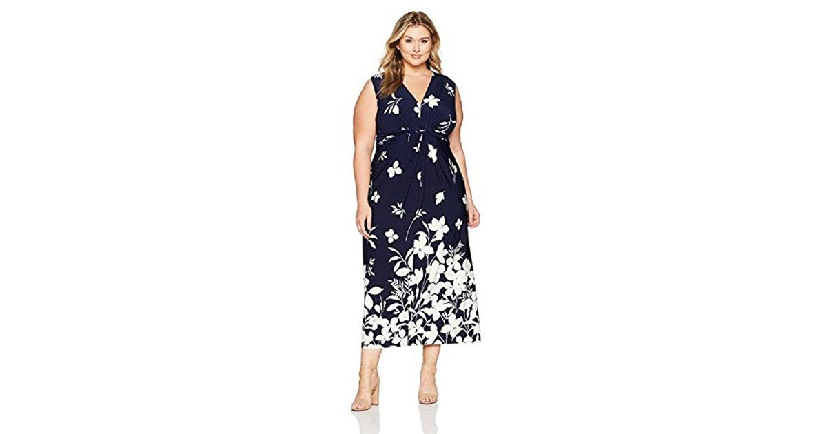 a5280ab39e Lyst - Eliza J Plus Size Maxi Dress With Knot Front in Blue