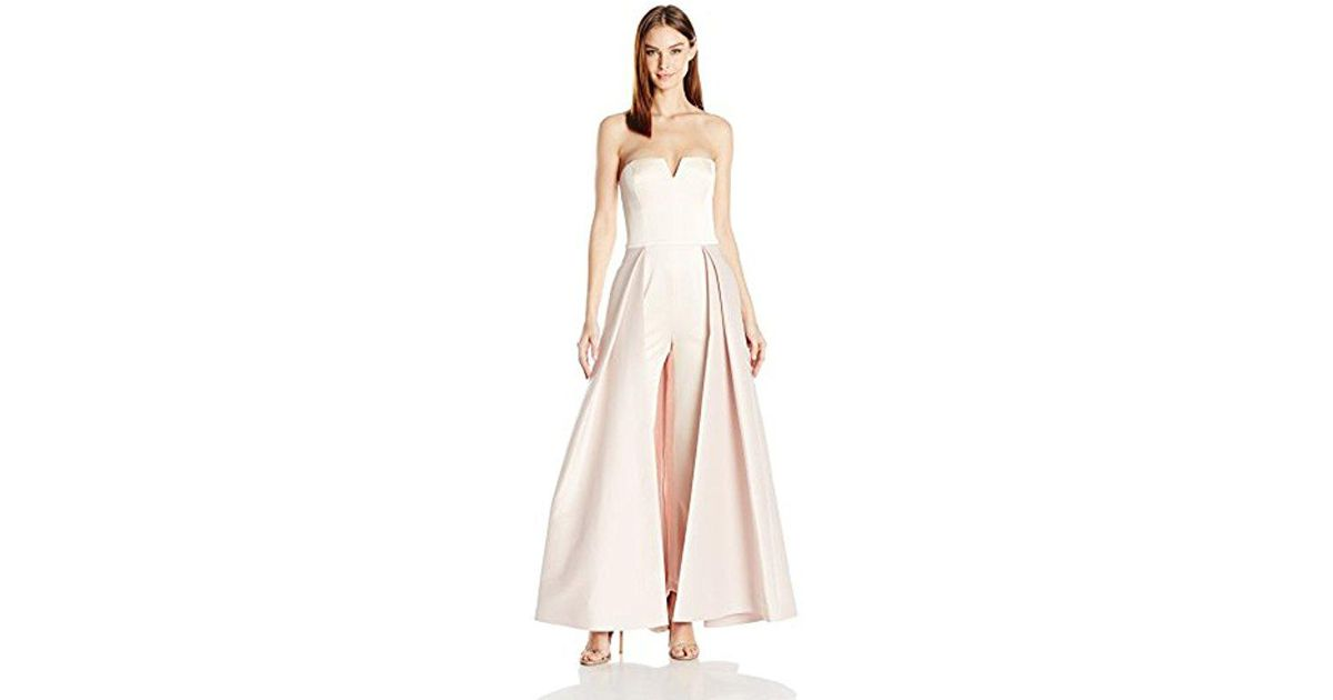 857cd615ec1 Lyst - Halston Strapless Jumpsuit Structured Skirt Overlay - Save 37%