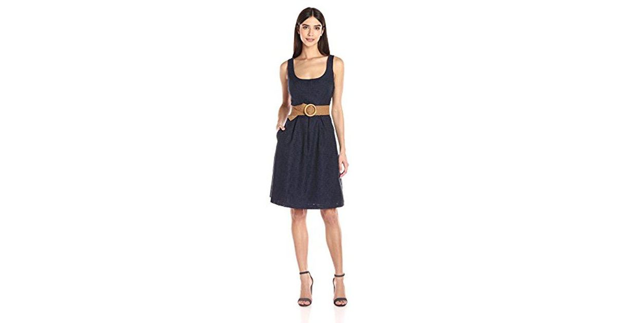 Lyst Nine West Sleeveless Belted Fit And Flare Dress