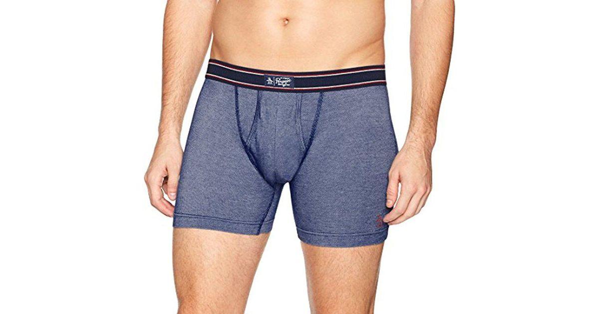 ae188ca25396 Lyst - Original Penguin Cotton Spandex Boxer Brief Underwear in Blue for  Men - Save 25%