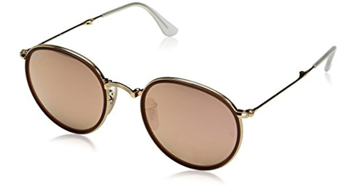 Lyst - Ray-Ban Rb3517 001 z2 Round - Gold Frame Brown Mirror Pink Lenses  51mm Non-polarized e8dbc271a6