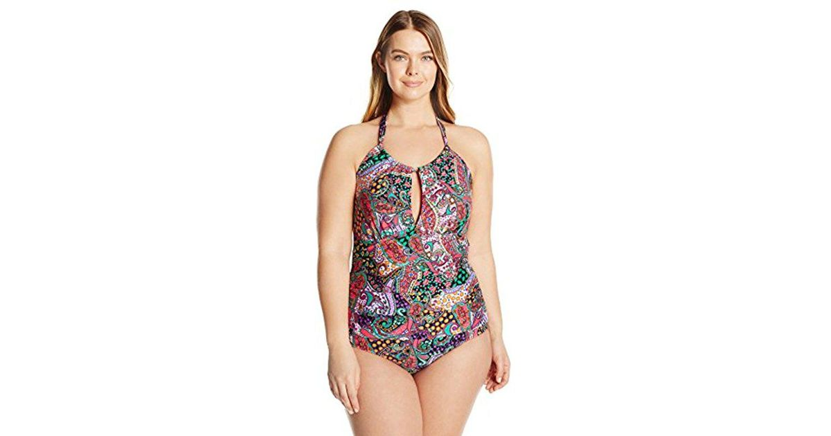ab6b403fd1ef7 Lyst - Kenneth Cole Reaction Plus-size Gypsy Gem Paisley Underwire High  Neck One Piece Swimsuit