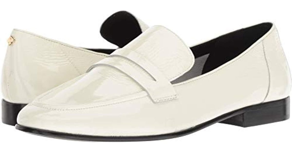 7f343f1b0cb Lyst - Kate Spade Women s Genevieve Almond Toe Patent Leather Loafers in  White - Save 65%