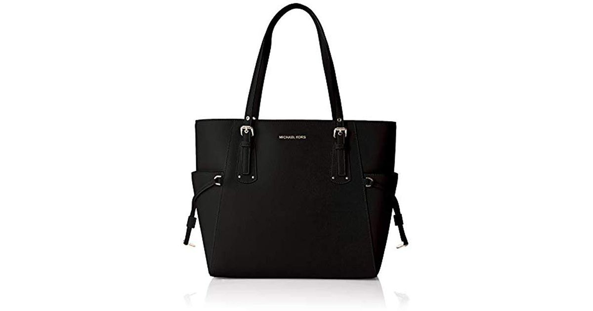 e8b86942dbd689 Michael Kors Voyager Crossgrain Leather Tote Tote in Black - Lyst