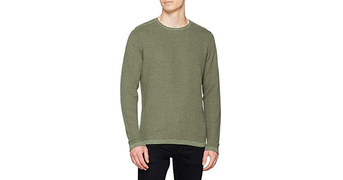 c7439c5a6ca Tommy Hilfiger  s Textured Denim Look Sweater Jumper in Green for Men - Lyst