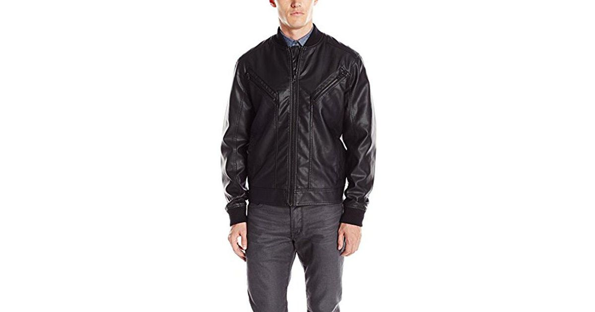 a31528e7abf Lyst - Kenneth Cole Reaction Seamed Pleather Bomber Jacket in Black for Men  - Save 64%