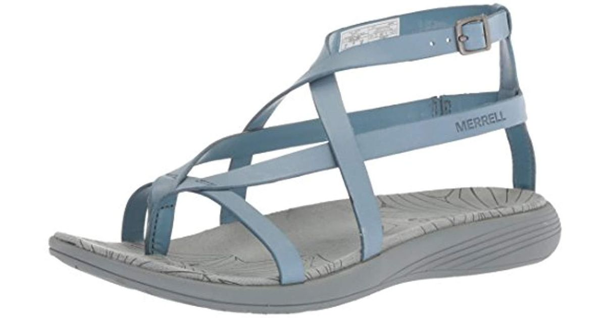 6311150f051a Lyst - Merrell Duskair Seaway Thong Leather Sandal in Blue - Save 33%
