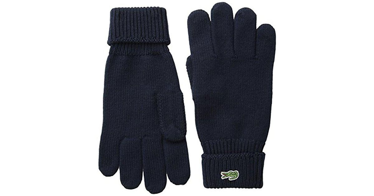 88483babd91b77 Lyst - Lacoste Marine Logo Gloves in Blue for Men - Save 21.568627450980387%