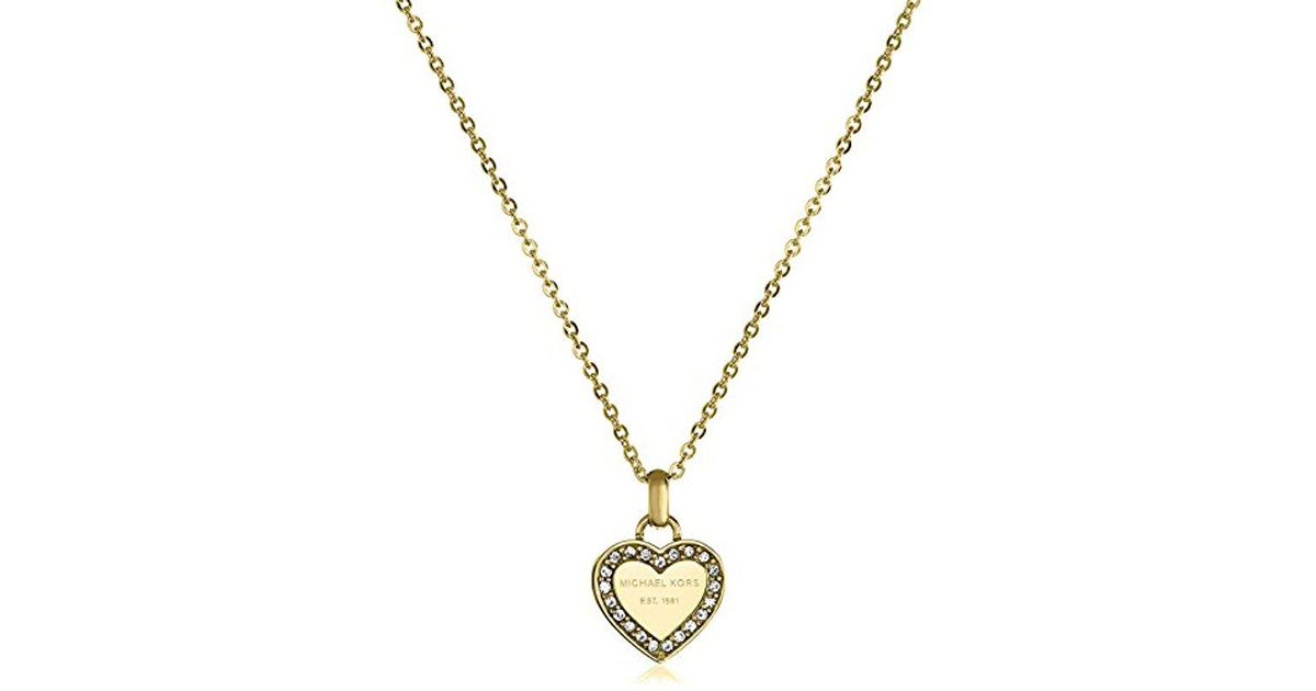 76cd30961e9cdd Lyst - Michael Kors Tone Logo Heart Pendant Necklace in Metallic