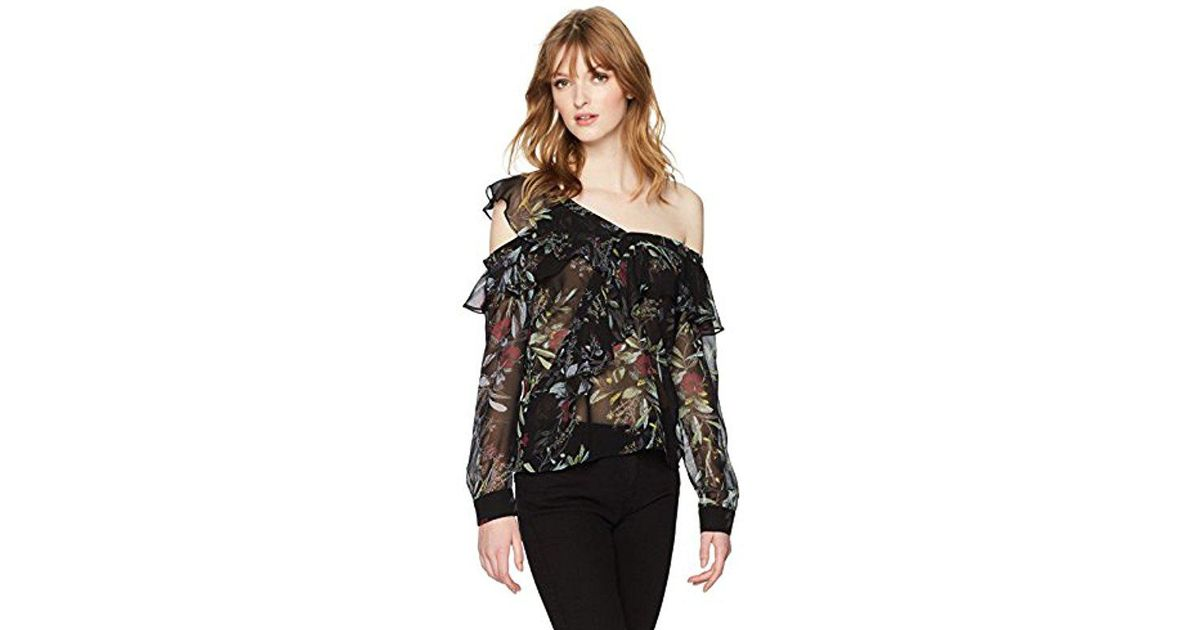 dbc47911b770c Lyst - Guess Long Sleeve Winslow One Shoulder Top in Black - Save 29%