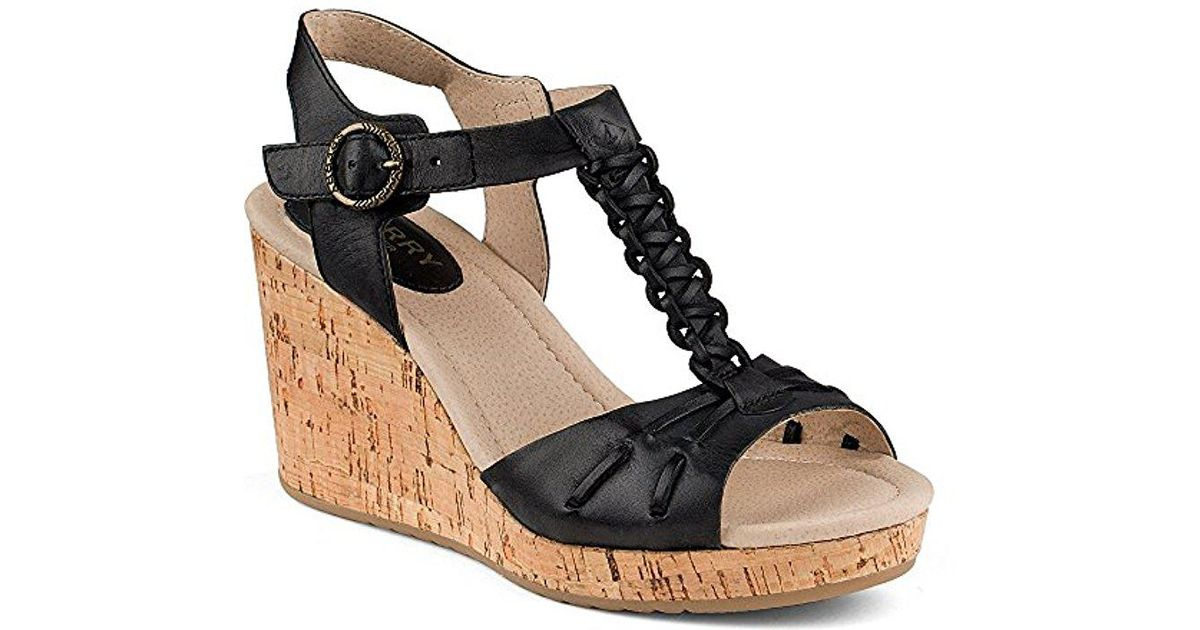 497cb9e21 Lyst - Sperry Top-Sider Dawn Sky Wedge Sandal in Black