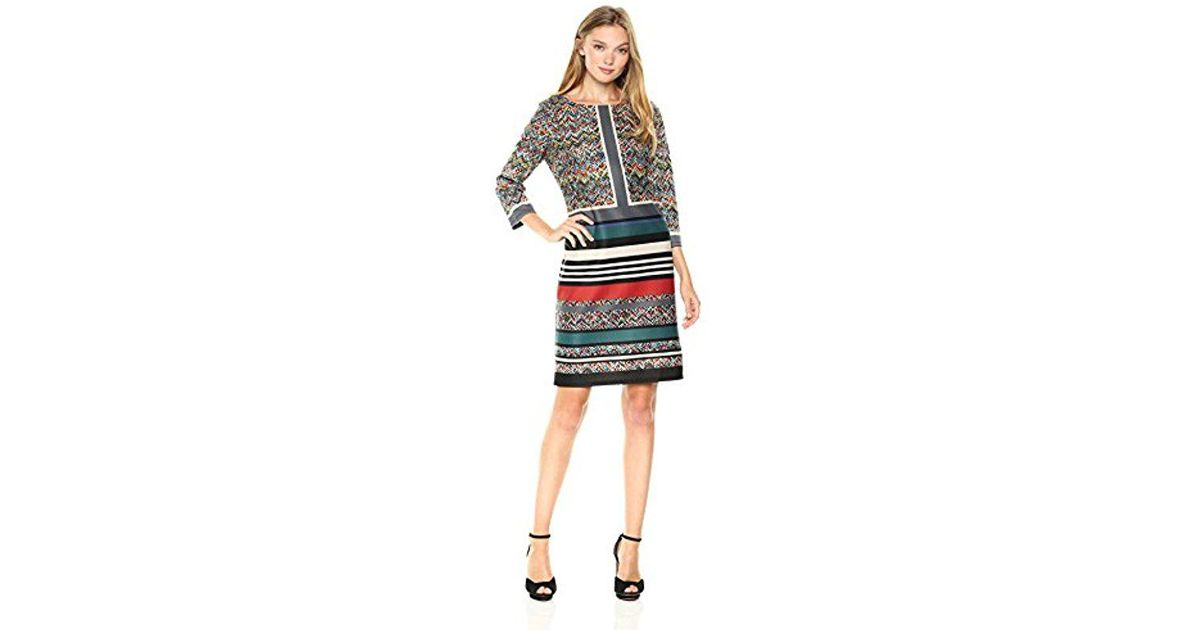 b0493f7c65 Lyst - Nine West Technicolor Suba 3 4 Sleeve Scuba Dress