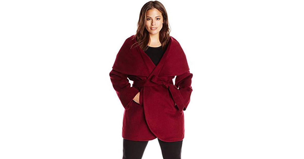 fb7112d446c5e Lyst - T Tahari Plus-size Marla Wool-blend Wrap Coat in Red - Save 3%