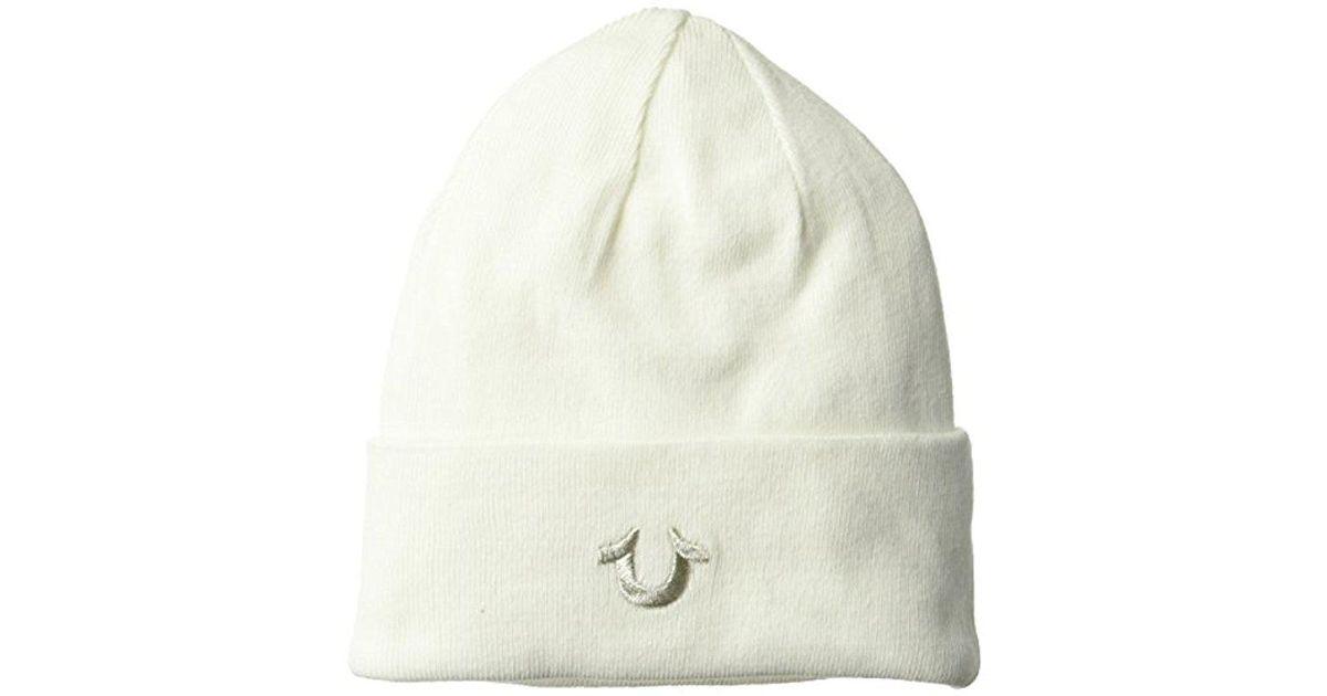 6062e1ddab36f Lyst - True Religion Cotton Watchcap in White for Men