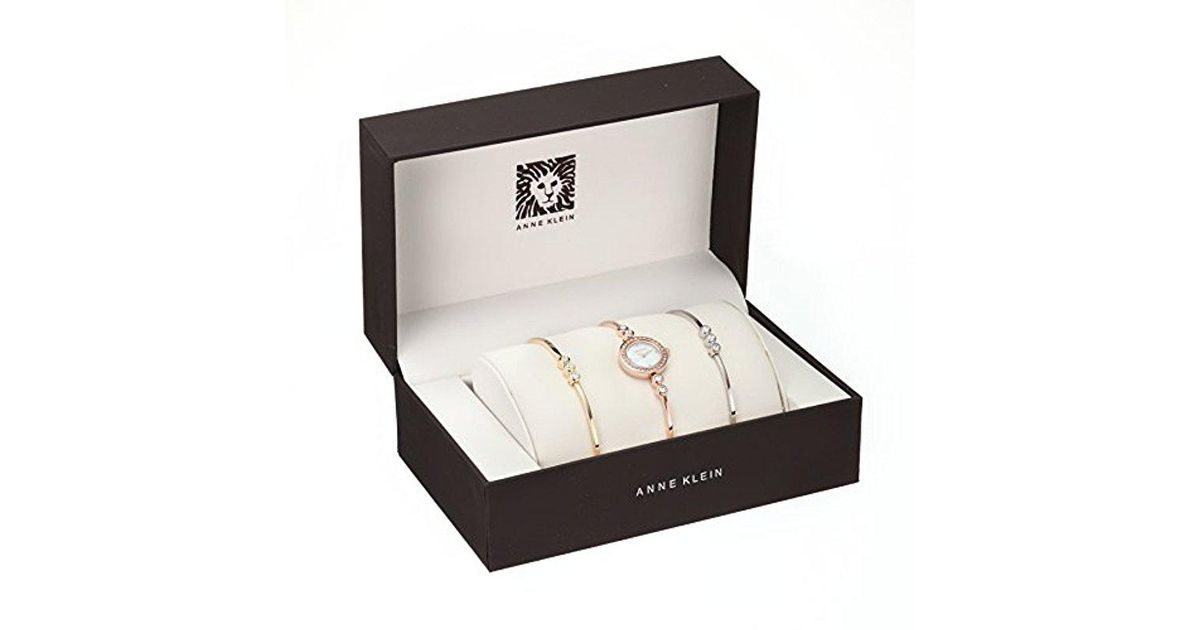 cda6e2eac Anne Klein Ak/1690trst Swarovski Crystal-accented Rose Gold-tone Bangle  Watch And Bracelet Set in Metallic - Lyst