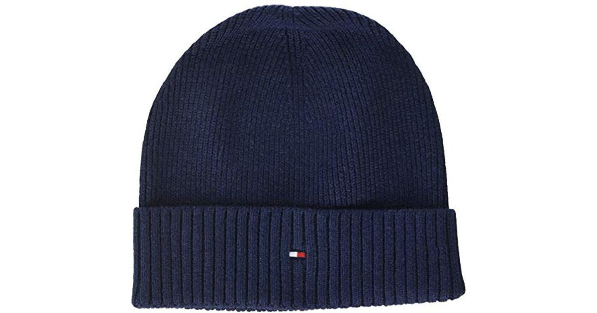 e7fb8b57c9c Tommy Hilfiger Pima Cotton Cashmere Beanie in Blue for Men - Save 25.0% -  Lyst