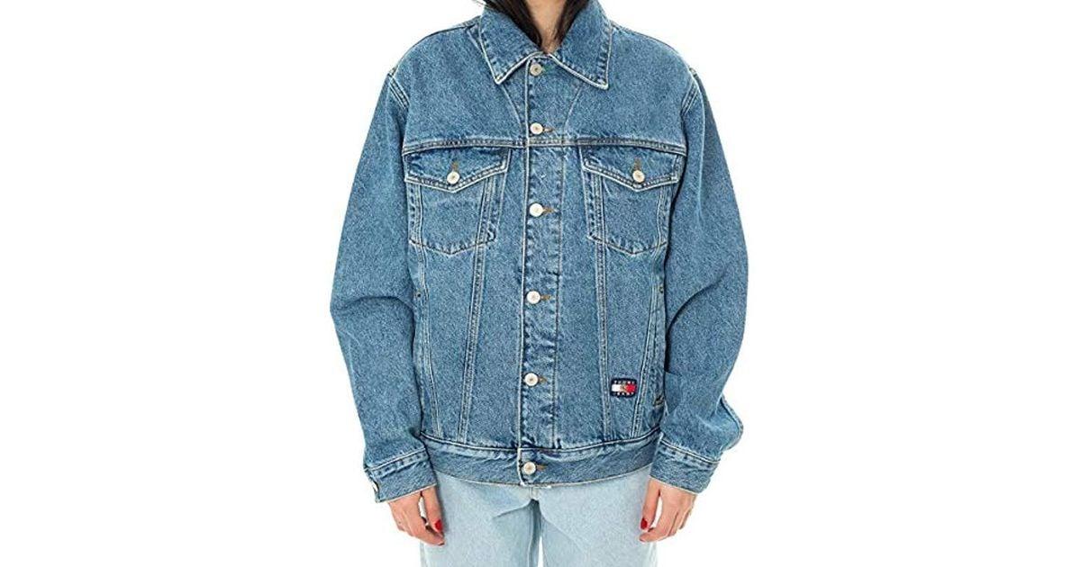 brand new 109b3 89581 Tommy Hilfiger - Blue Giubbotto Unisex Tommy Jeans Crest Flag Trucker  Dw0dw05979 - Lyst