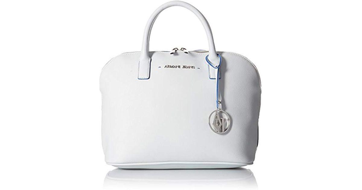 7b1dd6a9c542 Lyst - Armani Jeans Eco Saffiano Bowler Shoulder Bag in White