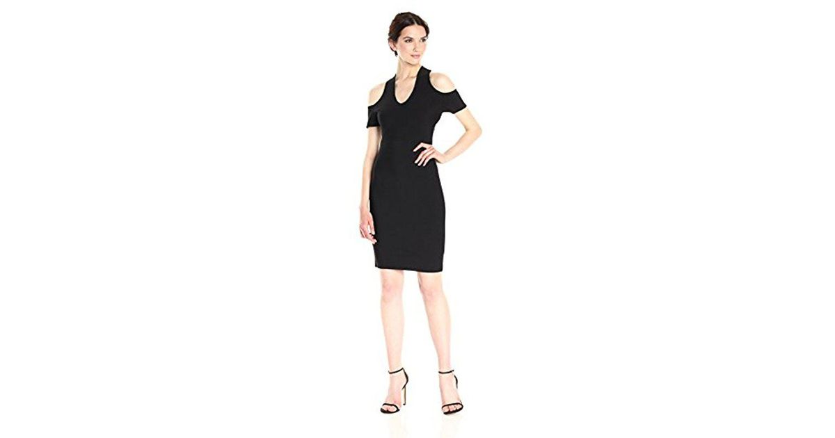 8ac7dfdbe96 Lyst - BCBGMAXAZRIA Bcbgmax Azria Ally Cold Shoulder Cross Neck Dress in  Black - Save 13%