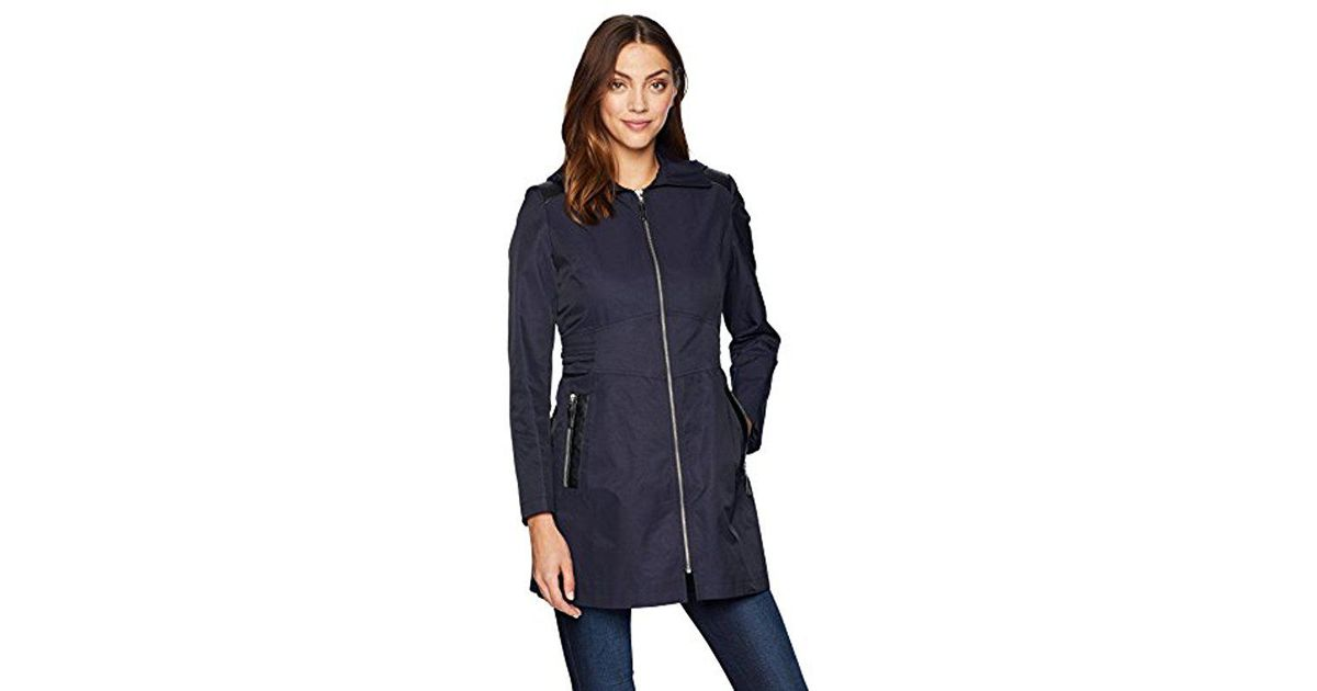 3ae3a6c9e6a Lyst - Via Spiga Zip Front Hooded Fit And Flare Lightweight Trench Coat in  Blue