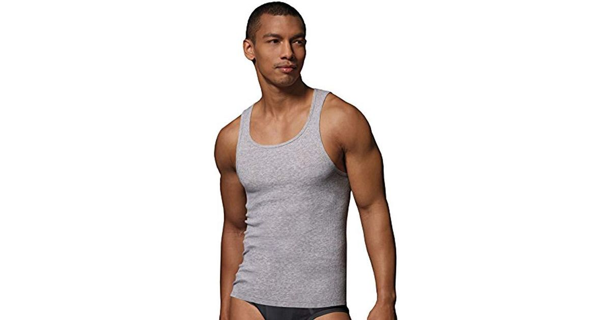 b4bf3e256c791d Lyst - Hanes 392p4- Tagless Ribbed A-shirt 4-pack for Men