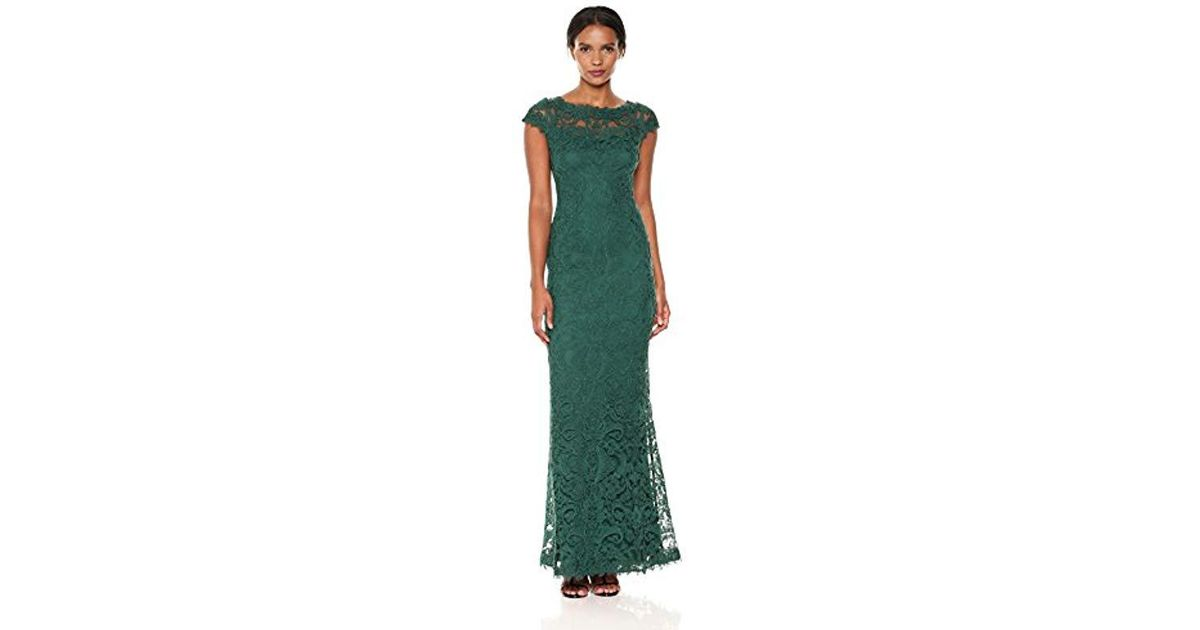 248788a71b35 Lyst - Tadashi Shoji Cap Sleeve Embroidered Lace Gown in Green