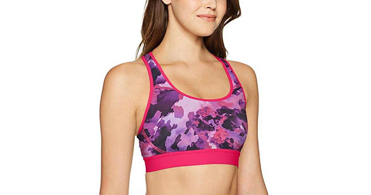 c1a392b5f5d7e Lyst - Champion The Absolute Workout Double Dry Sports Bra Print in Pink -  Save 32%