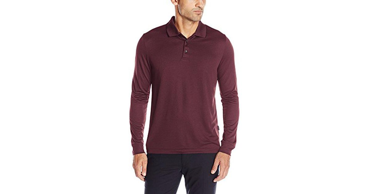 9fd6cc9b Lyst - Perry Ellis 3 Button Long Sleeve Jacquard Polo in Purple for Men
