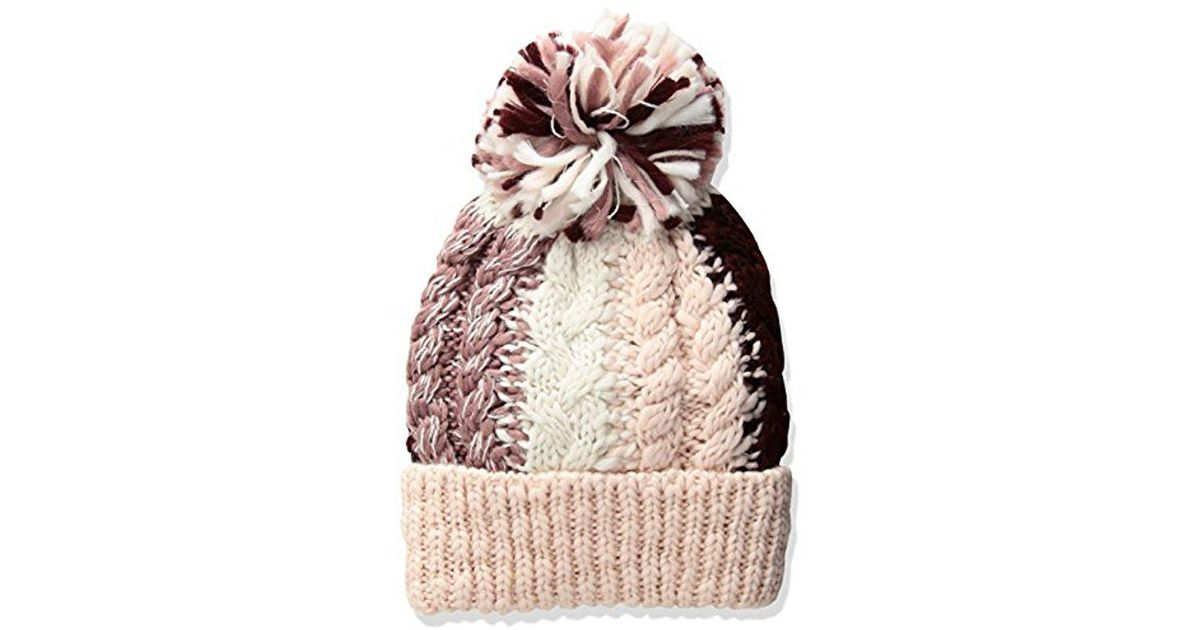 f910332b06d Lyst - BCBGeneration Color Blocked Cable Beanie in Pink